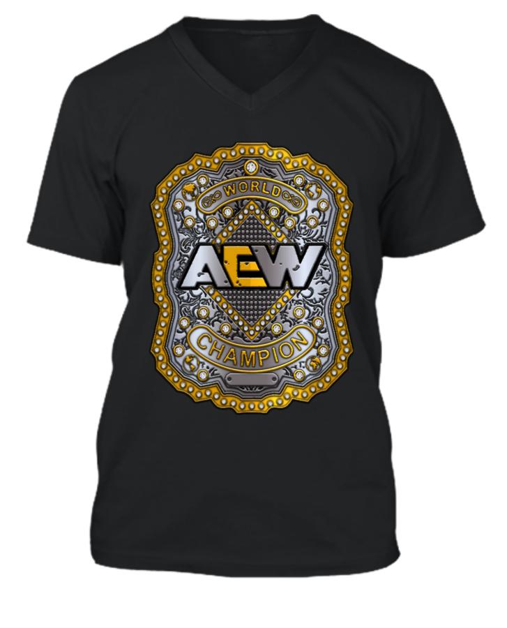 AEW World Championship V-Necked T-Shirt. - Front