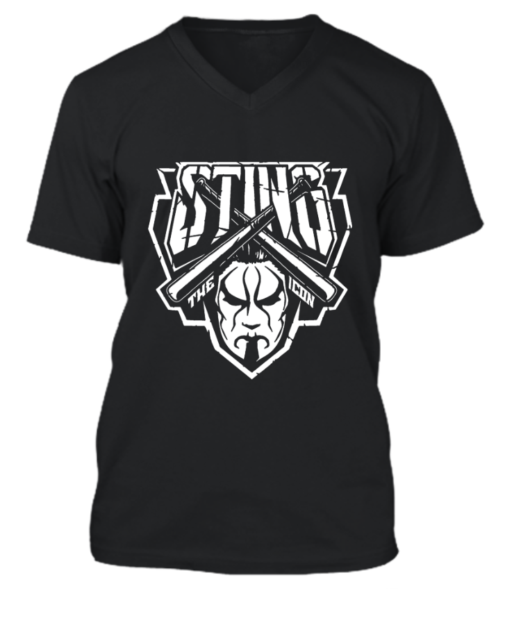 AEW Sting V-Necked T-Shirt. - Front