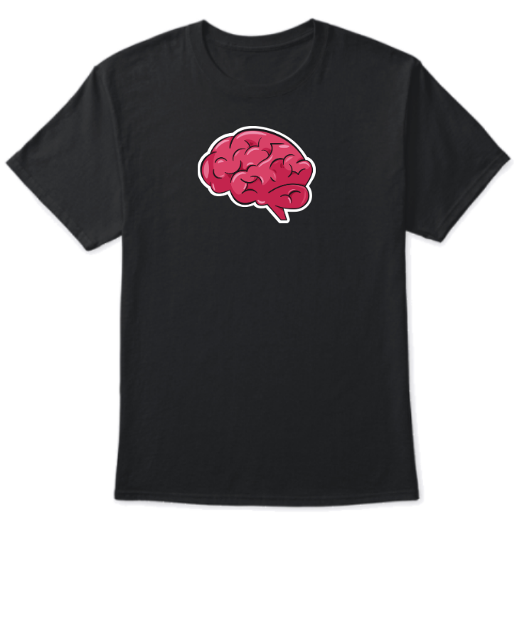 Black T-Shirt Design With Human Brain - Front