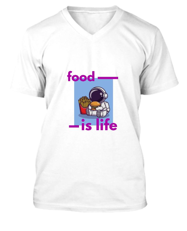 Food is life v neck t-shirt - Front