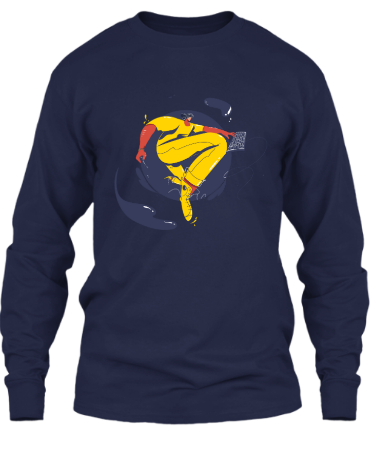 Full Sleeve Tee With illustration Design - Front