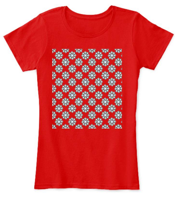 Red Women Tee shirt Pattern - Front