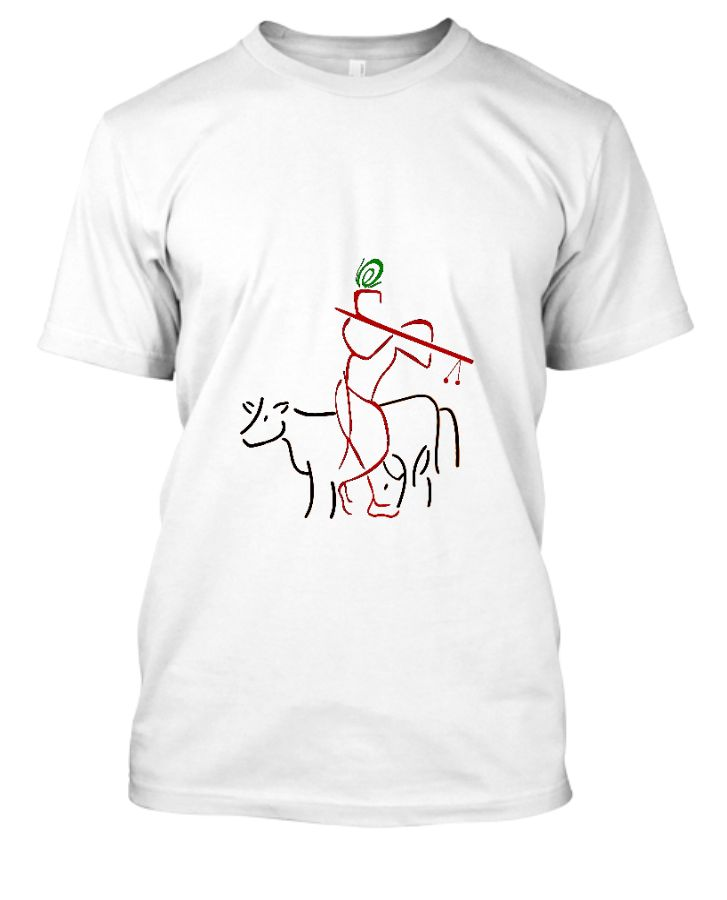 T-shirt with Art of Shri Krishna and Cows - Front
