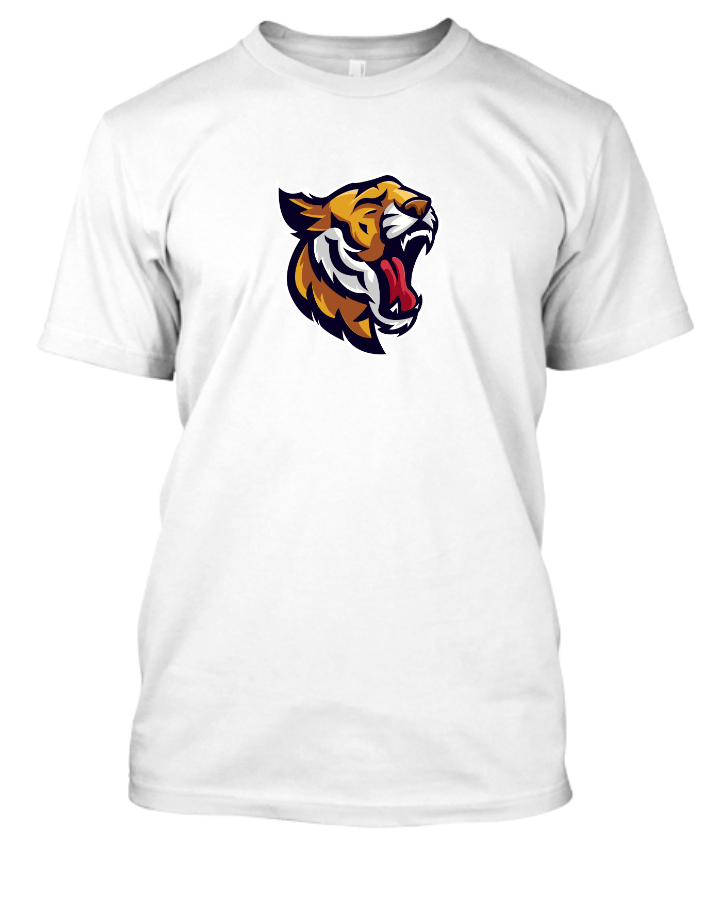 Tiger Design T-Shirt with black, white, yellow, and blue. - Front
