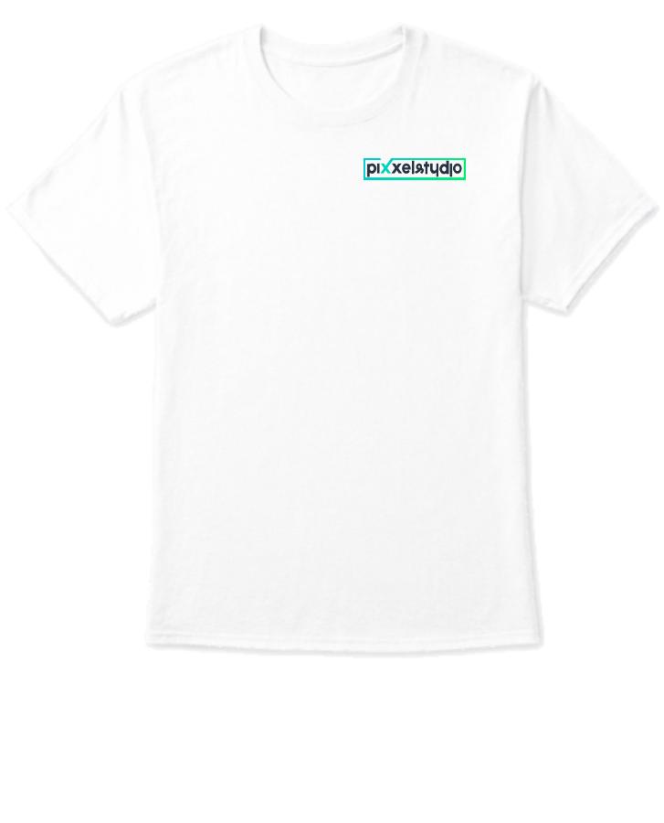 White T-Shirt Design With Pixxel Studio Logo - Front